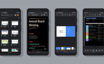 Google Docs, Sheets, and Slides on Android with Dark theme