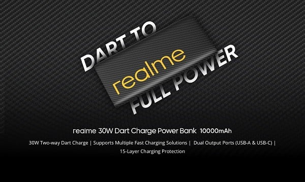 Realme 10000mAh 30W Dart Charge power bank